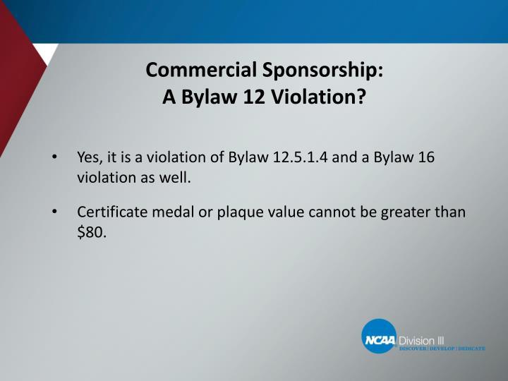Commercial Sponsorship: