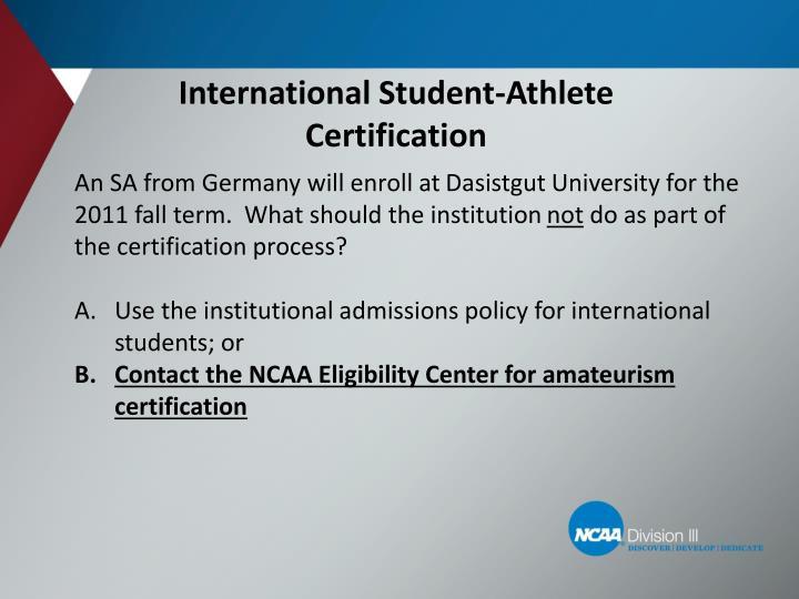 International Student-Athlete Certification