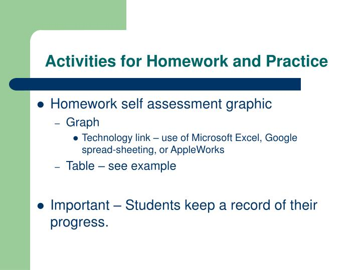 Activities for Homework and Practice