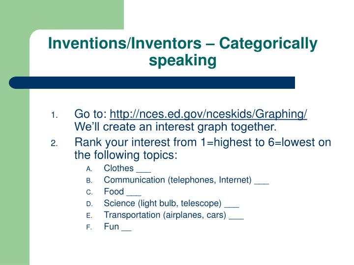 Inventions/Inventors – Categorically speaking