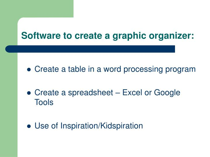 Software to create a graphic organizer: