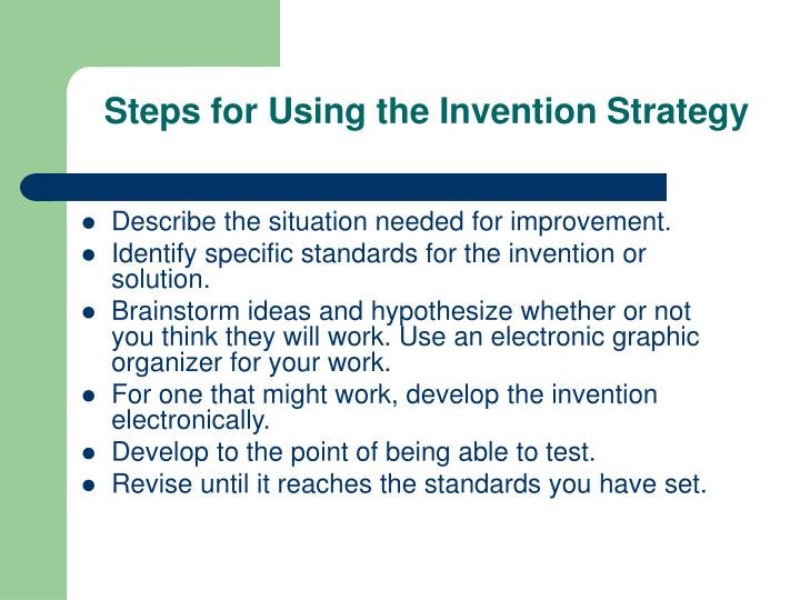 Steps for Using the Invention Strategy