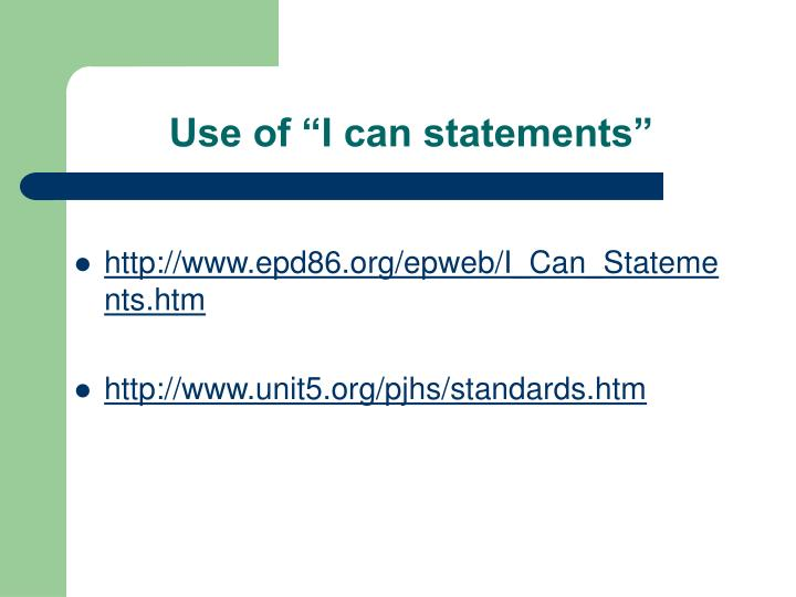 "Use of ""I can statements"""