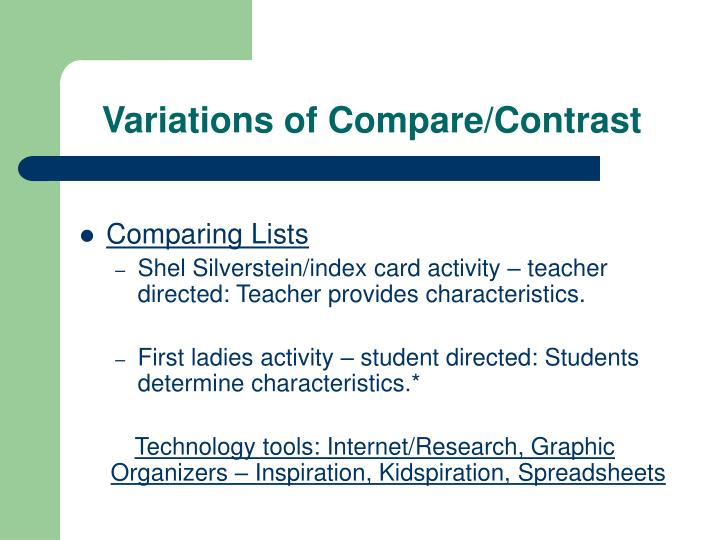 Variations of Compare/Contrast