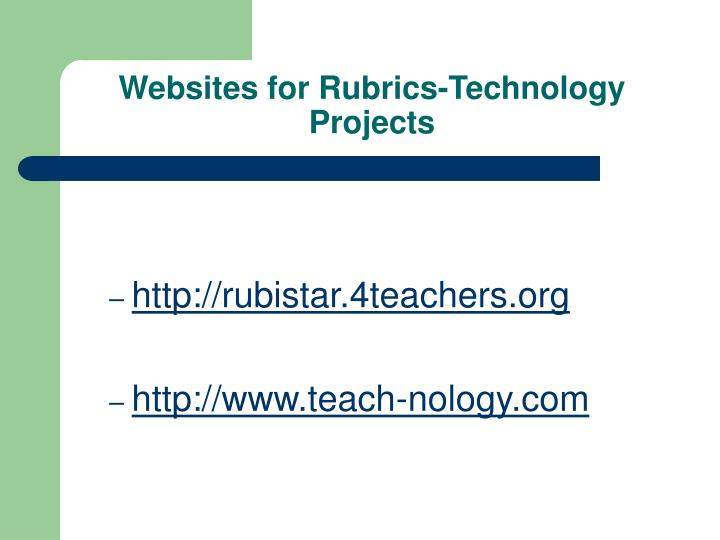 Websites for Rubrics-Technology Projects