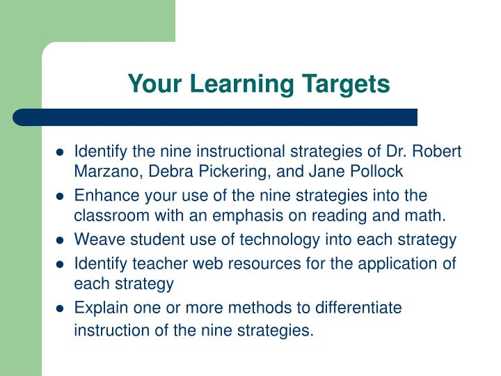 Your Learning Targets