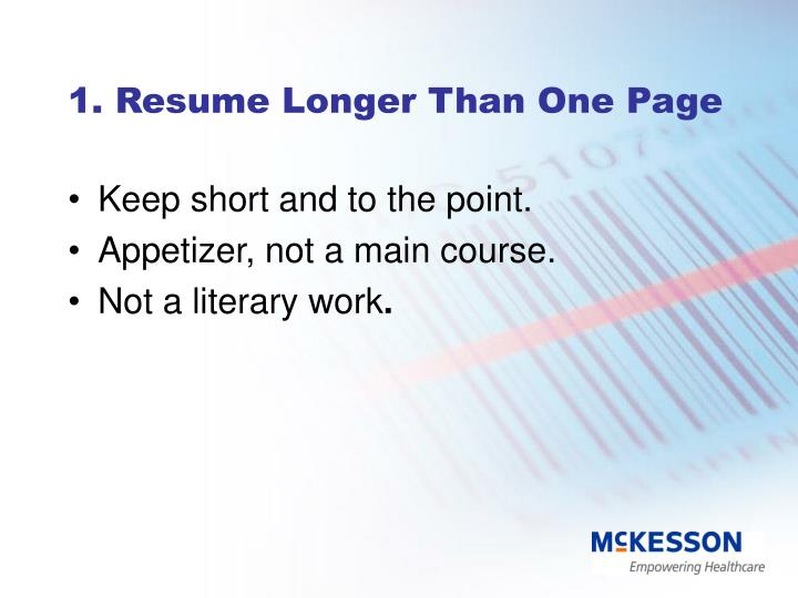 1. Resume Longer Than One Page