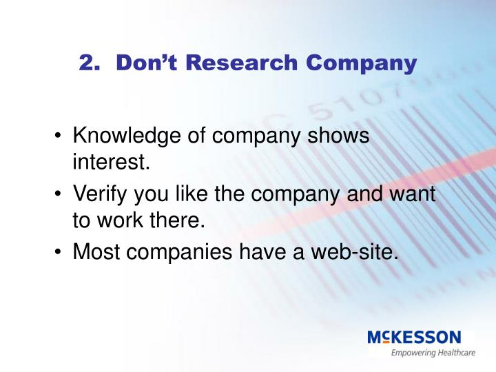 2.  Don't Research Company