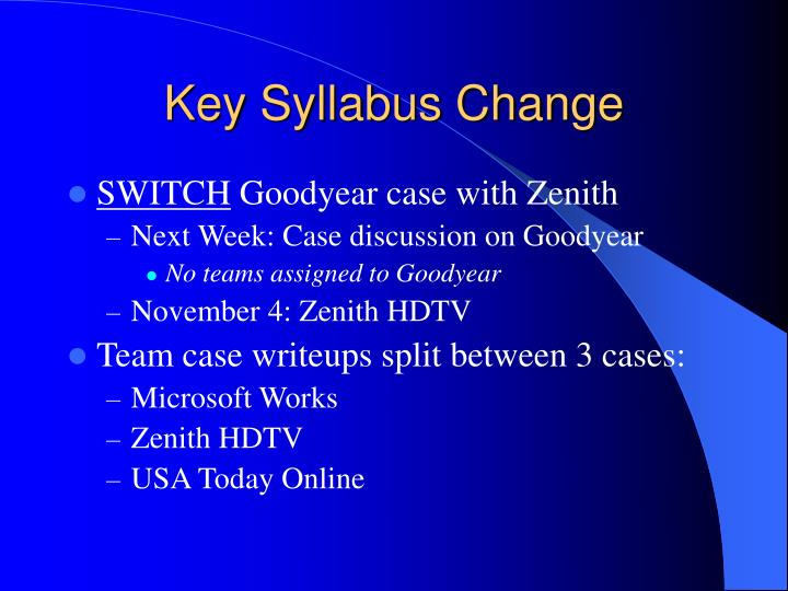 Key Syllabus Change