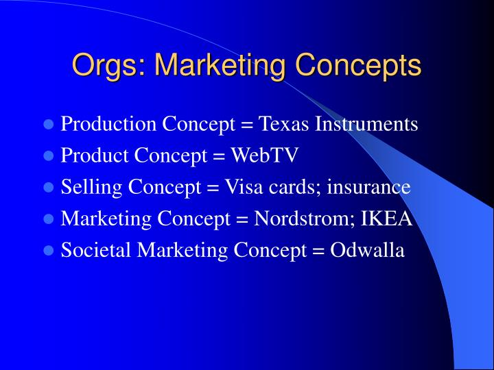 Orgs: Marketing Concepts