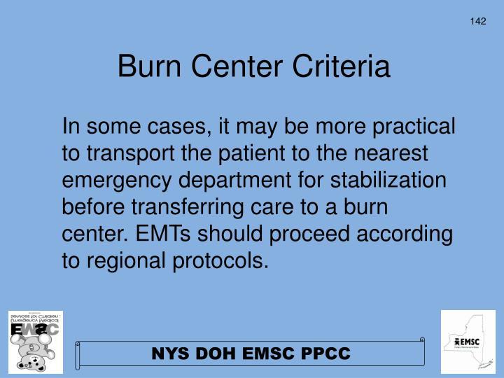 Burn Center Criteria