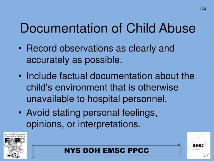 Documentation of Child Abuse