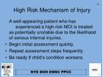 high risk mechanism of injury