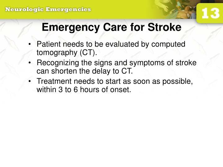 Emergency Care for Stroke