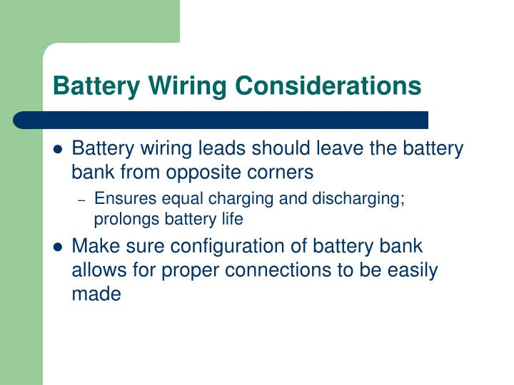 Battery Wiring Considerations