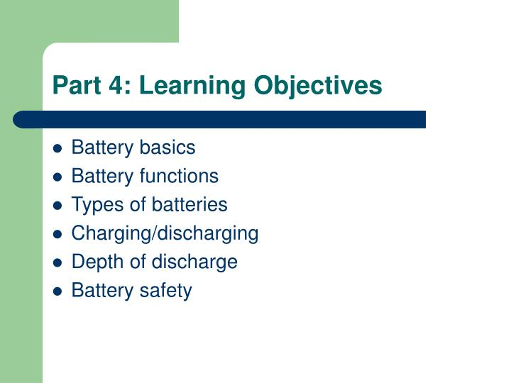 Part 4: Learning Objectives