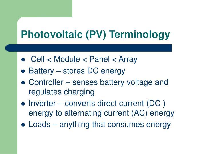Photovoltaic (PV) Terminology