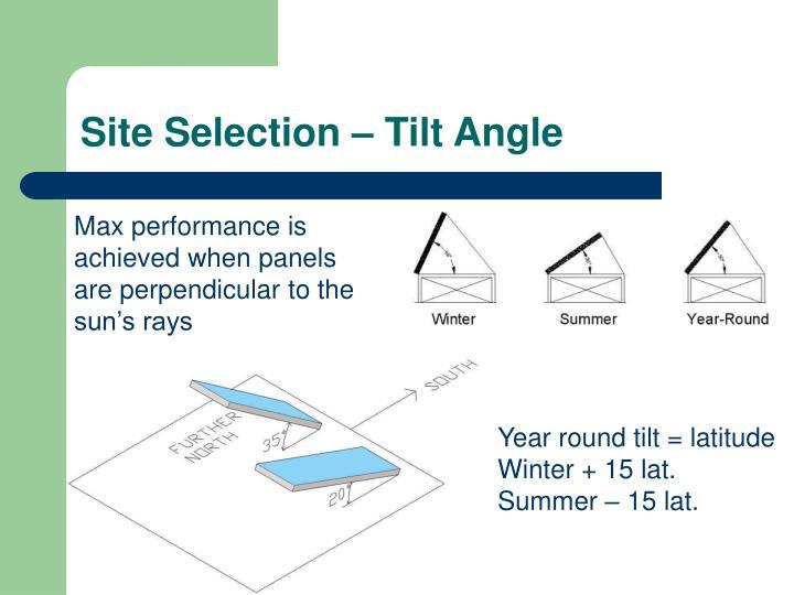 Site Selection – Tilt Angle