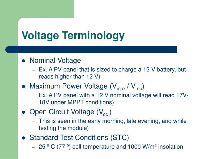 Voltage Terminology