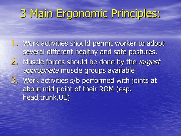 3 Main Ergonomic Principles: