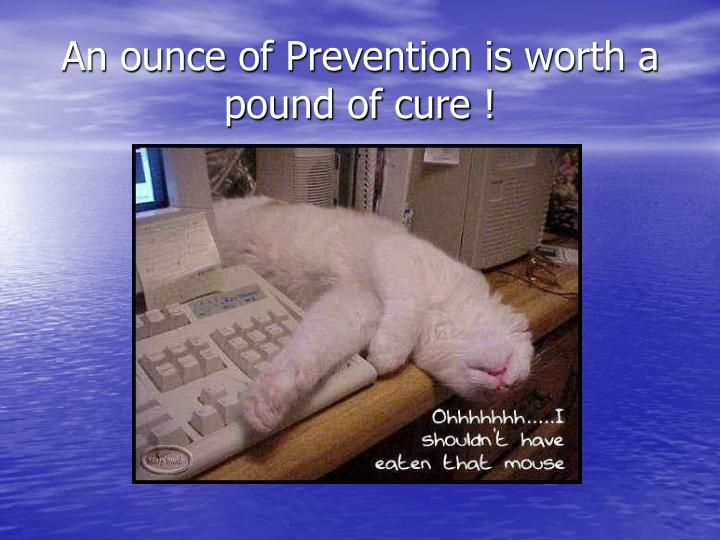 An ounce of Prevention is worth a pound of cure !