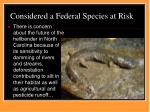 considered a federal species at risk