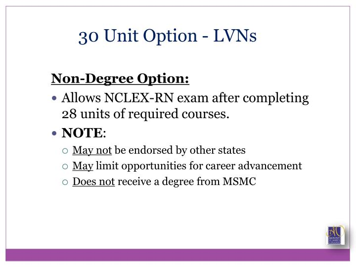 30 Unit Option - LVNs