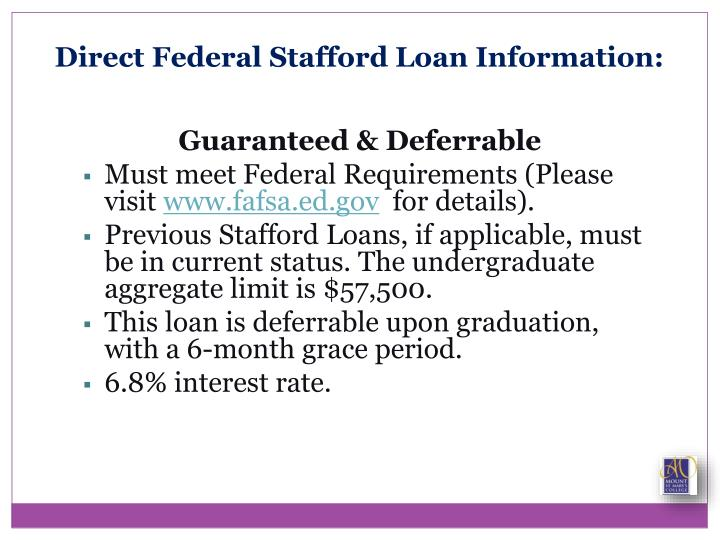 Direct Federal Stafford Loan Information: