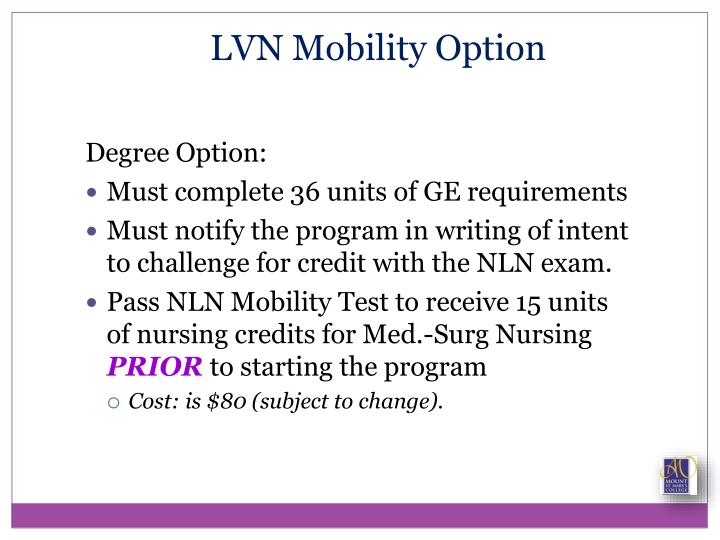 LVN Mobility Option