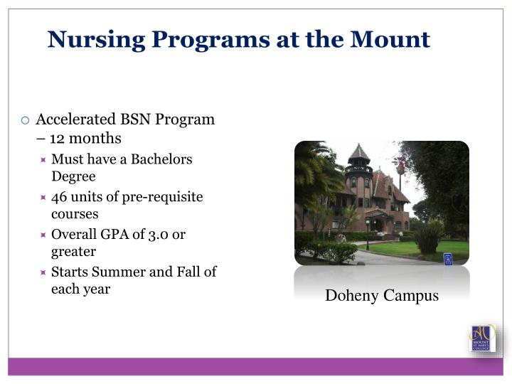 Nursing Programs at the Mount