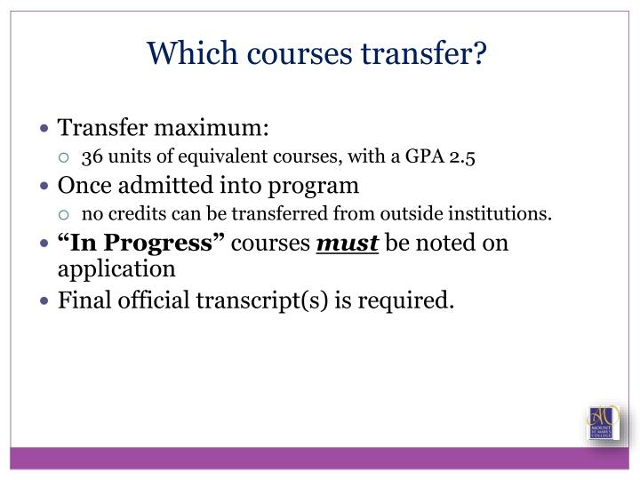 Which courses transfer?