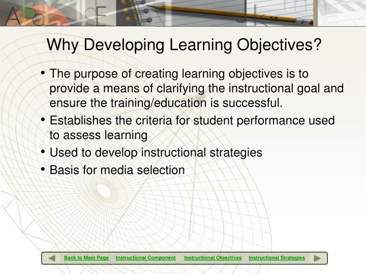 Why Developing Learning Objectives?