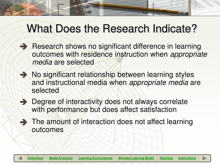 Research shows no significant difference in learning outcomes with residence instruction when