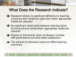 what does the research indicate