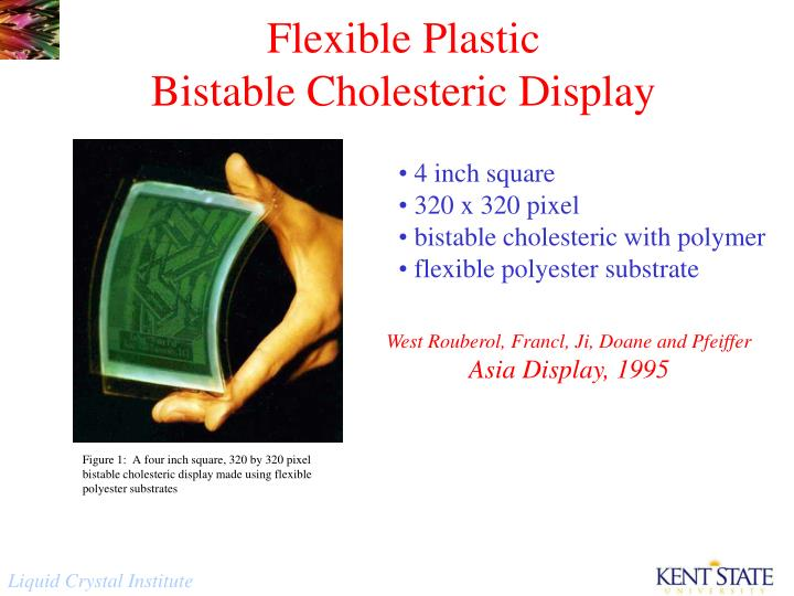 Figure 1:  A four inch square, 320 by 320 pixel bistable cholesteric display made using flexible polyester substrates