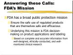 answering these calls fda s mission