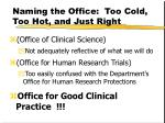 naming the office too cold too hot and just right