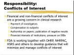 responsibility conflicts of interest