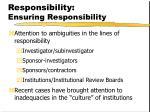 responsibility ensuring responsibility