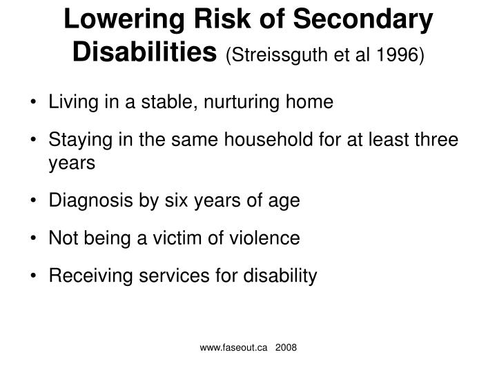 Lowering Risk of Secondary Disabilities