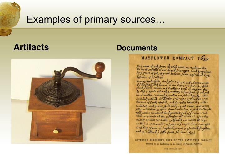 Examples of primary sources…