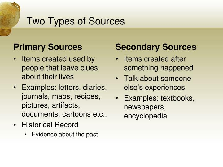 Two types of sources