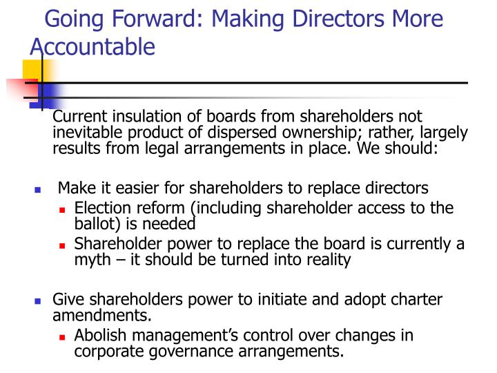 Going Forward: Making Directors More Accountable