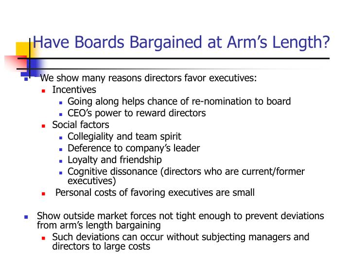Have Boards Bargained at Arm's Length?