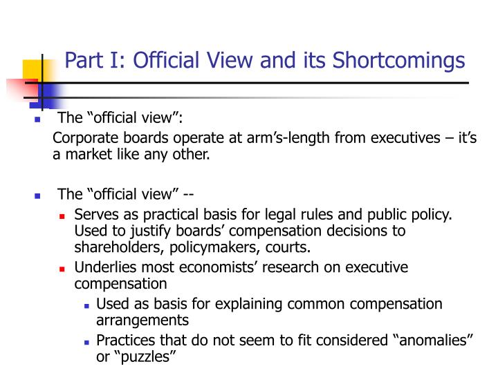 Part I: Official View and its Shortcomings
