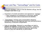 power and pay camouflage and its costs