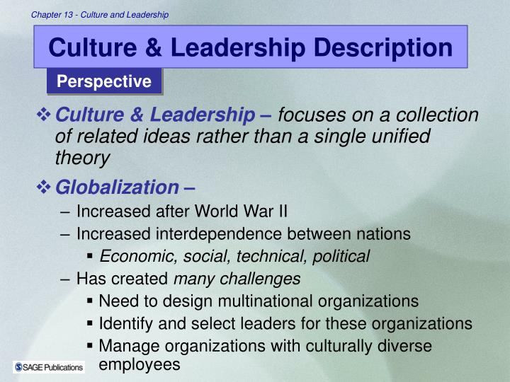 Culture leadership description