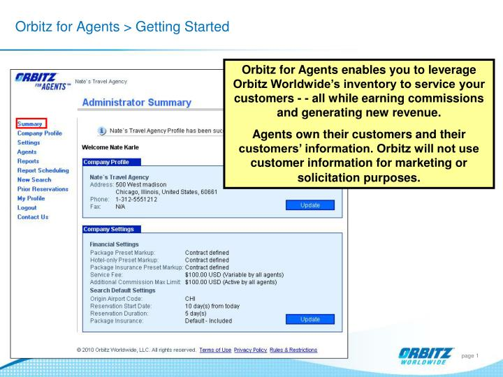 Orbitz for agents getting started