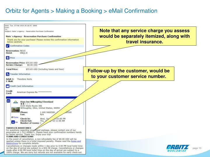Orbitz for Agents > Making a Booking > eMail Confirmation