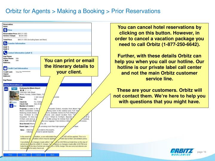 Orbitz for Agents > Making a Booking > Prior Reservations